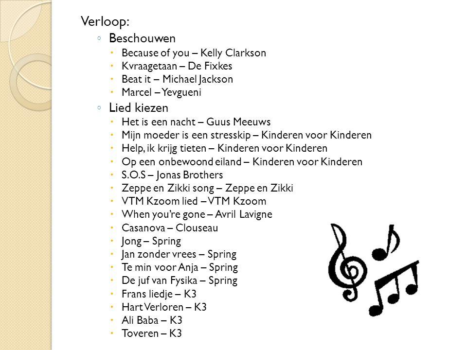 Workshops en hun organisatie Materiaal: - Opneeminstallatie met computer - Extra lokalen (voor elke groep) - Cd-spelers - Gekozen liedjes op cd