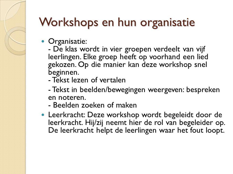 Workshops en hun organisatie Materiaal: - Liedjesteksten (+ vertalingen) - Cd-speler - Extra lokaal (waar leerlingen kunnen oefenen) - Tijdschriften - 4 computers met internet