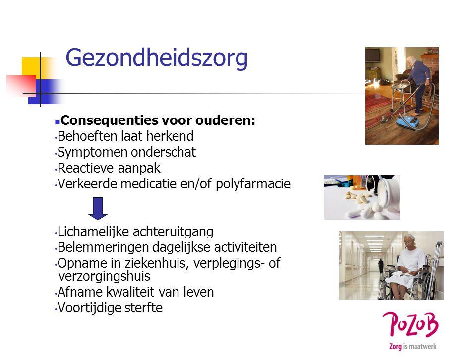 Gezondheidszorg Consequenties voor ouderen: Behoeften laat herkend Symptomen onderschat Reactieve aanpak Verkeerde medicatie en/of polyfarmacie Licham