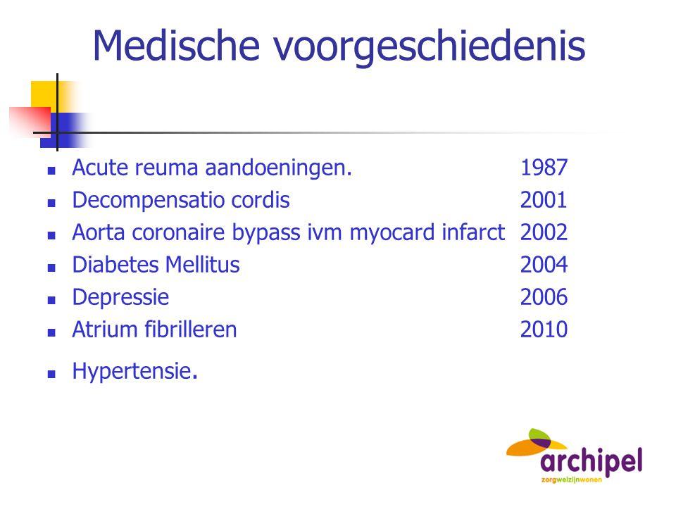 Medische voorgeschiedenis Acute reuma aandoeningen. 1987 Decompensatio cordis2001 Aorta coronaire bypass ivm myocard infarct 2002 Diabetes Mellitus200