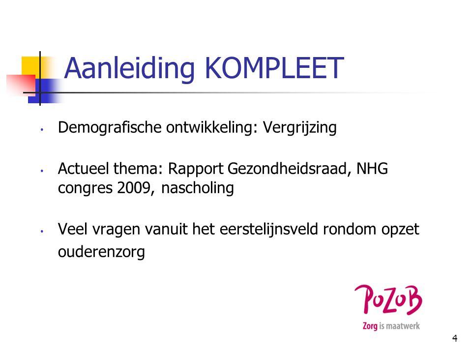 Vergrijzing in Nederland Huidige situatie en belangrijkste ontwikkelingen: 1 januari 2011: 16% bevolking 65 + jr Aantal ouderen 8x zo hoog vgl.