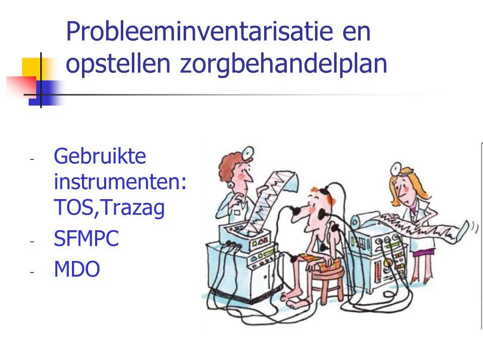 Probleeminventarisatie en opstellen zorgbehandelplan - Gebruikte instrumenten: TOS,Trazag - SFMPC - MDO