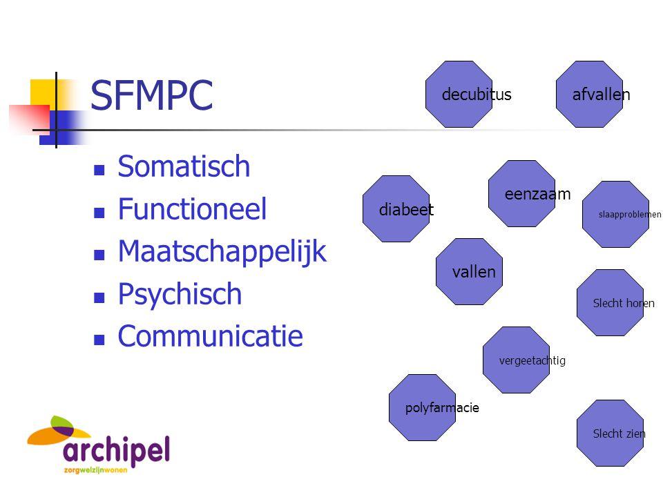 SFMPC Somatisch Functioneel Maatschappelijk Psychisch Communicatie vallen eenzaam decubitus Slecht horen afvallen vergeetachtig diabeet polyfarmacie S