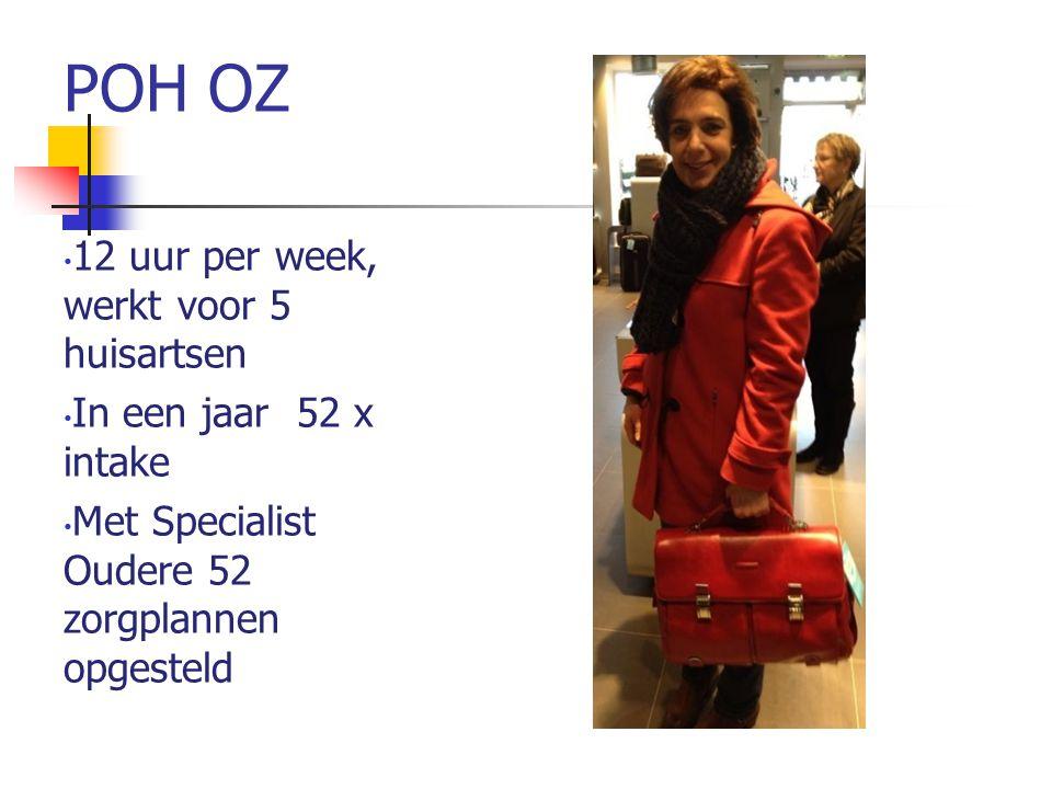 POH OZ 12 uur per week, werkt voor 5 huisartsen In een jaar 52 x intake Met Specialist Oudere 52 zorgplannen opgesteld