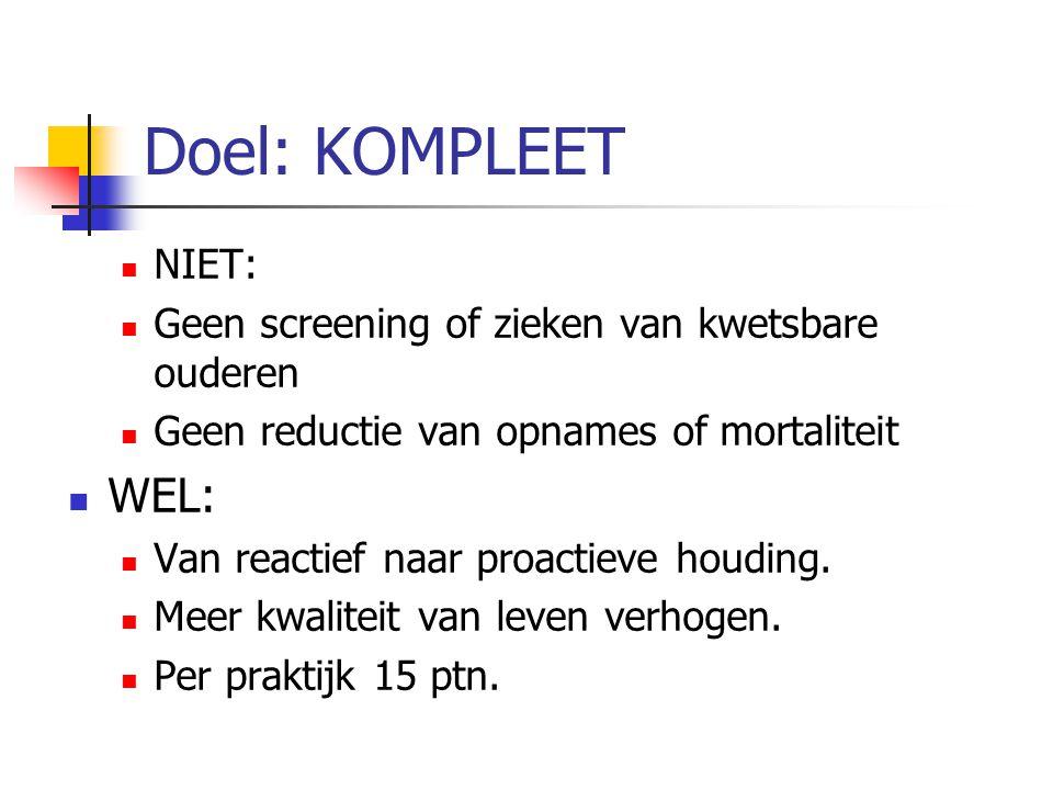 Doel: KOMPLEET NIET: Geen screening of zieken van kwetsbare ouderen Geen reductie van opnames of mortaliteit WEL: Van reactief naar proactieve houding