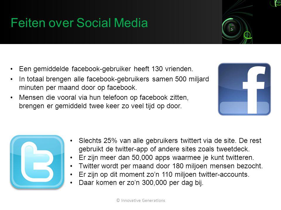Feiten over Social Media Een gemiddelde facebook-gebruiker heeft 130 vrienden. In totaal brengen alle facebook-gebruikers samen 500 miljard minuten pe