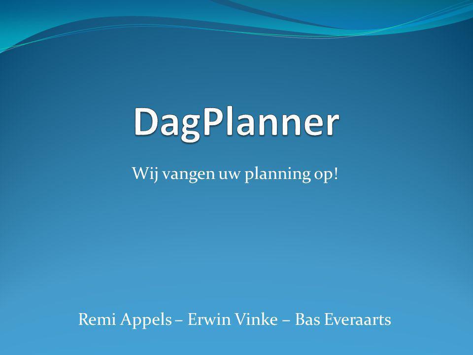 Wij vangen uw planning op! Remi Appels – Erwin Vinke – Bas Everaarts