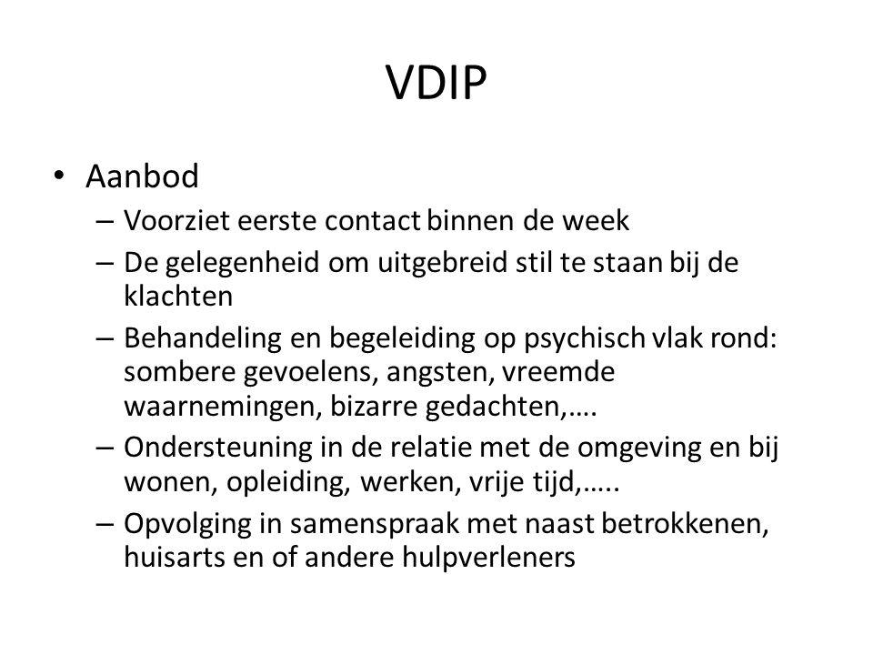 VDIP Aanbod – Voorziet eerste contact binnen de week – De gelegenheid om uitgebreid stil te staan bij de klachten – Behandeling en begeleiding op psyc