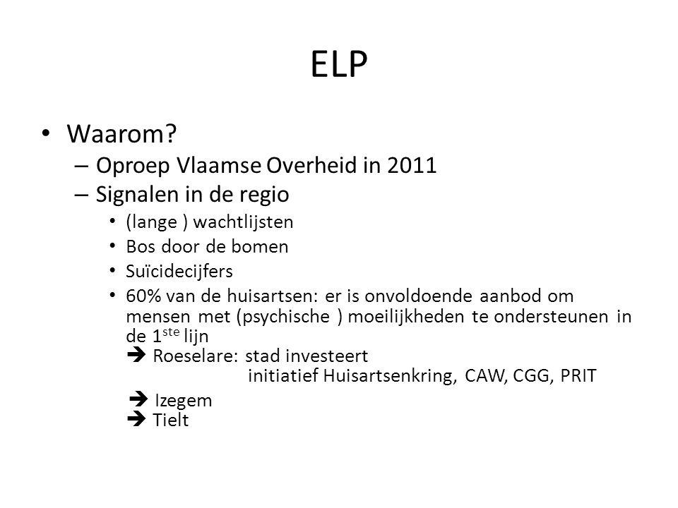 ELP Waarom? – Oproep Vlaamse Overheid in 2011 – Signalen in de regio (lange ) wachtlijsten Bos door de bomen Suïcidecijfers 60% van de huisartsen: er