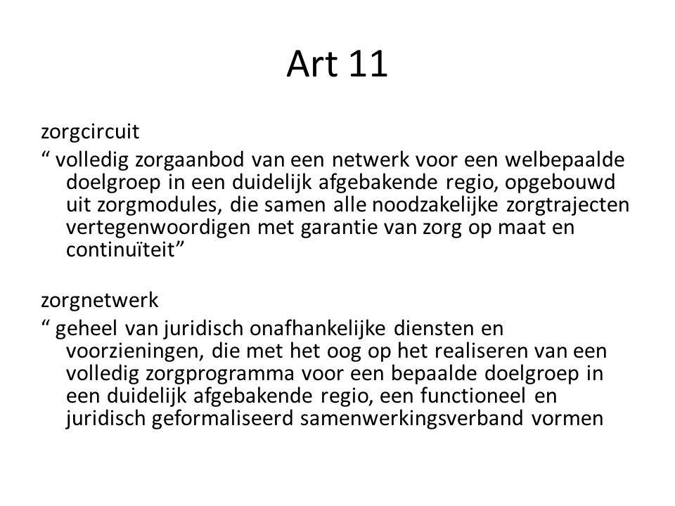 """Art 11 zorgcircuit """" volledig zorgaanbod van een netwerk voor een welbepaalde doelgroep in een duidelijk afgebakende regio, opgebouwd uit zorgmodules,"""