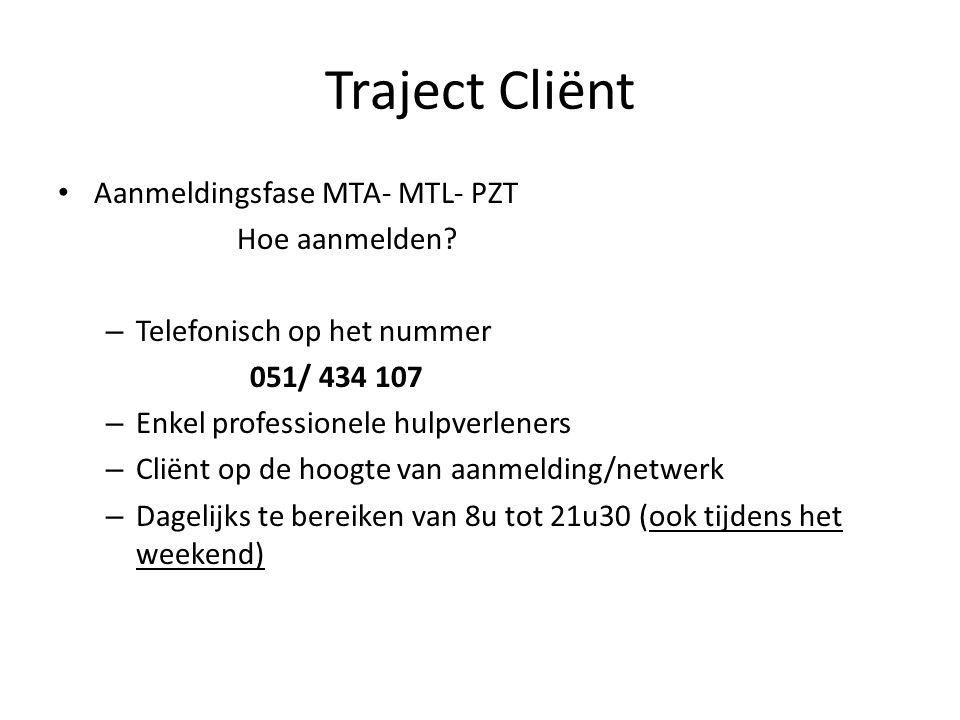 Aanmeldingsfase MTA- MTL- PZT Hoe aanmelden? – Telefonisch op het nummer 051/ 434 107 – Enkel professionele hulpverleners – Cliënt op de hoogte van aa