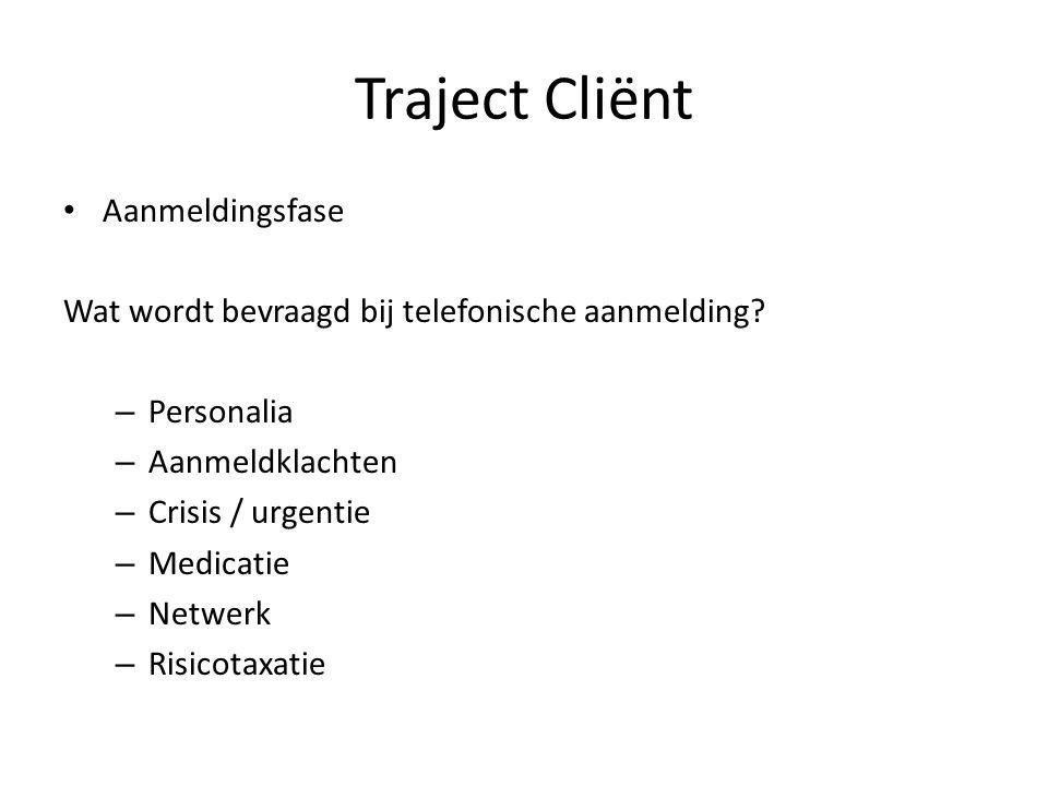 Aanmeldingsfase Wat wordt bevraagd bij telefonische aanmelding? – Personalia – Aanmeldklachten – Crisis / urgentie – Medicatie – Netwerk – Risicotaxat