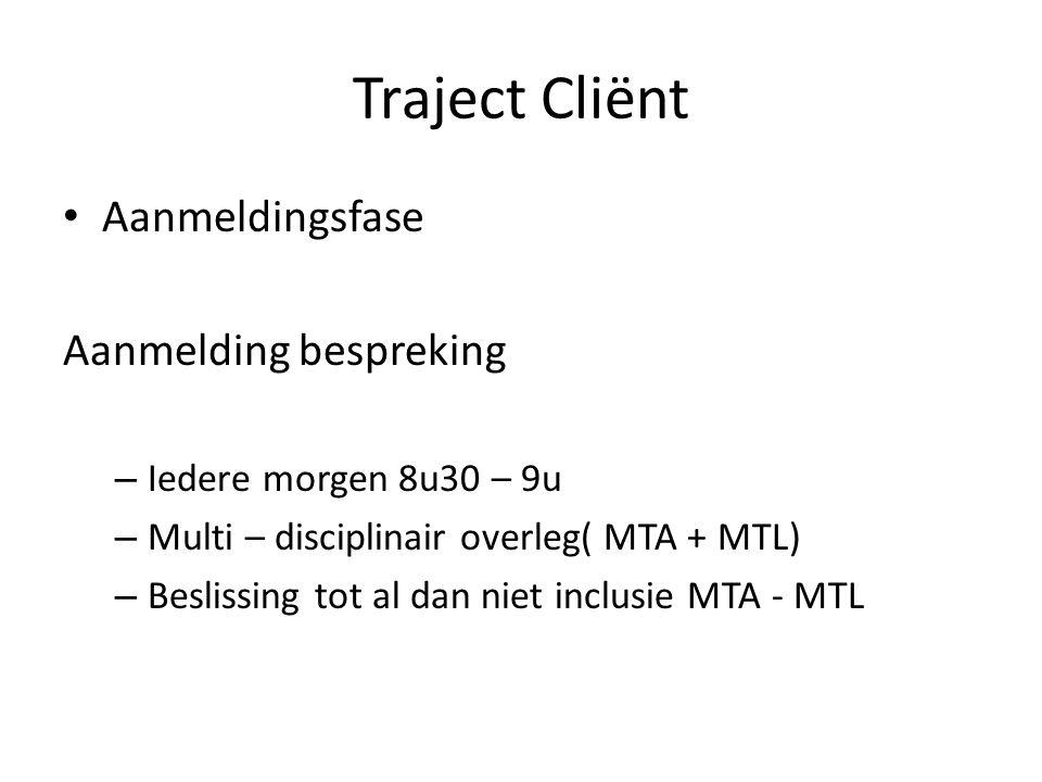 Aanmeldingsfase Aanmelding bespreking – Iedere morgen 8u30 – 9u – Multi – disciplinair overleg( MTA + MTL) – Beslissing tot al dan niet inclusie MTA -