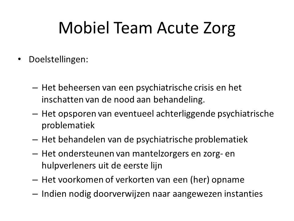 Doelstellingen: – Het beheersen van een psychiatrische crisis en het inschatten van de nood aan behandeling. – Het opsporen van eventueel achterliggen
