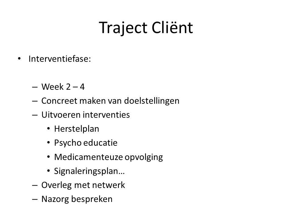 Interventiefase: – Week 2 – 4 – Concreet maken van doelstellingen – Uitvoeren interventies Herstelplan Psycho educatie Medicamenteuze opvolging Signal
