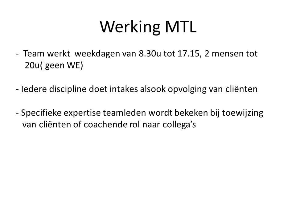 Werking MTL - Team werkt weekdagen van 8.30u tot 17.15, 2 mensen tot 20u( geen WE) - Iedere discipline doet intakes alsook opvolging van cliënten - Sp