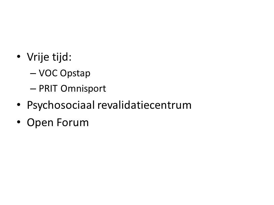 Vrije tijd: – VOC Opstap – PRIT Omnisport Psychosociaal revalidatiecentrum Open Forum