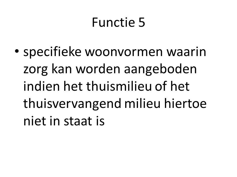 Functie 5 specifieke woonvormen waarin zorg kan worden aangeboden indien het thuismilieu of het thuisvervangend milieu hiertoe niet in staat is