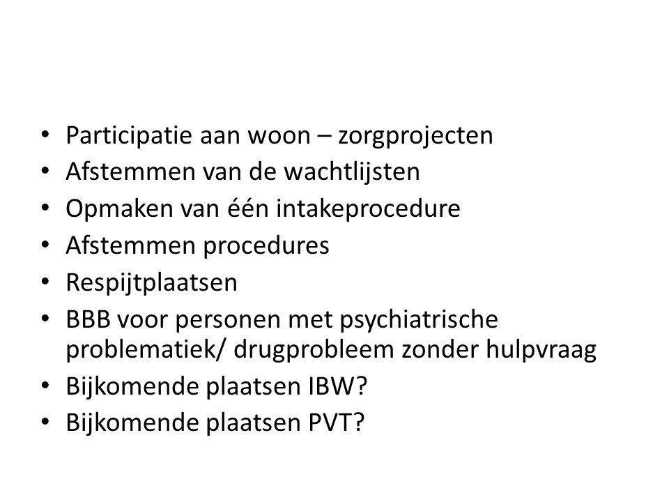 Participatie aan woon – zorgprojecten Afstemmen van de wachtlijsten Opmaken van één intakeprocedure Afstemmen procedures Respijtplaatsen BBB voor pers