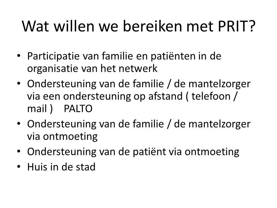 Wat willen we bereiken met PRIT? Participatie van familie en patiënten in de organisatie van het netwerk Ondersteuning van de familie / de mantelzorge