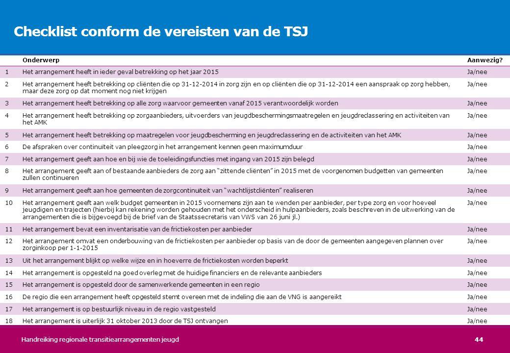 44 Checklist conform de vereisten van de TSJ OnderwerpAanwezig? 1Het arrangement heeft in ieder geval betrekking op het jaar 2015Ja/nee 2Het arrangeme