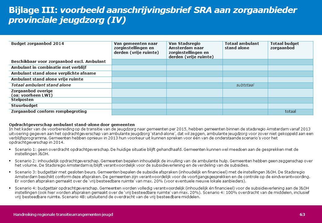 63 Opdrachtgeverschap ambulant stand-alone door gemeenten In het kader van de voorbereiding op de transitie van de jeugdzorg naar gemeenten per 2015,