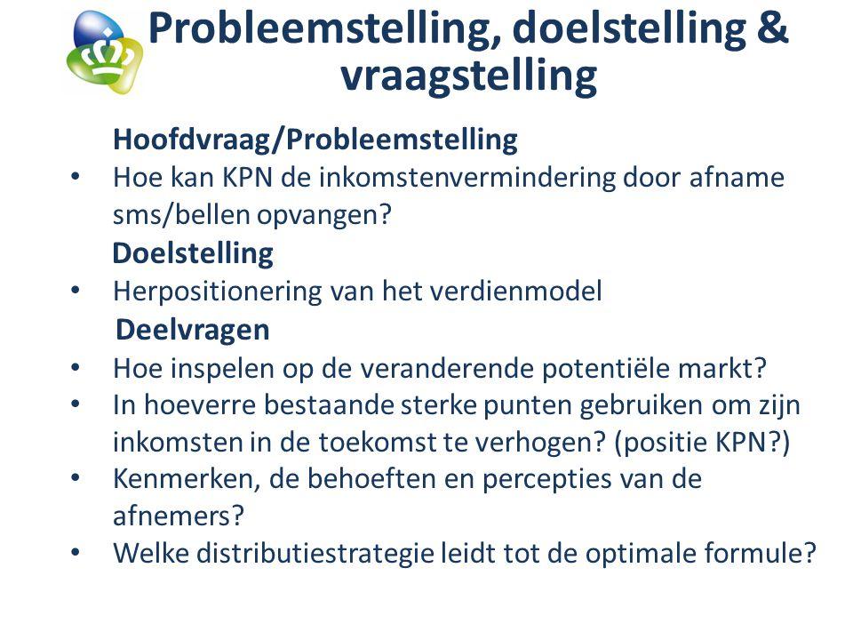 Probleemstelling, doelstelling & vraagstelling Hoofdvraag/Probleemstelling Hoe kan KPN de inkomstenvermindering door afname sms/bellen opvangen.