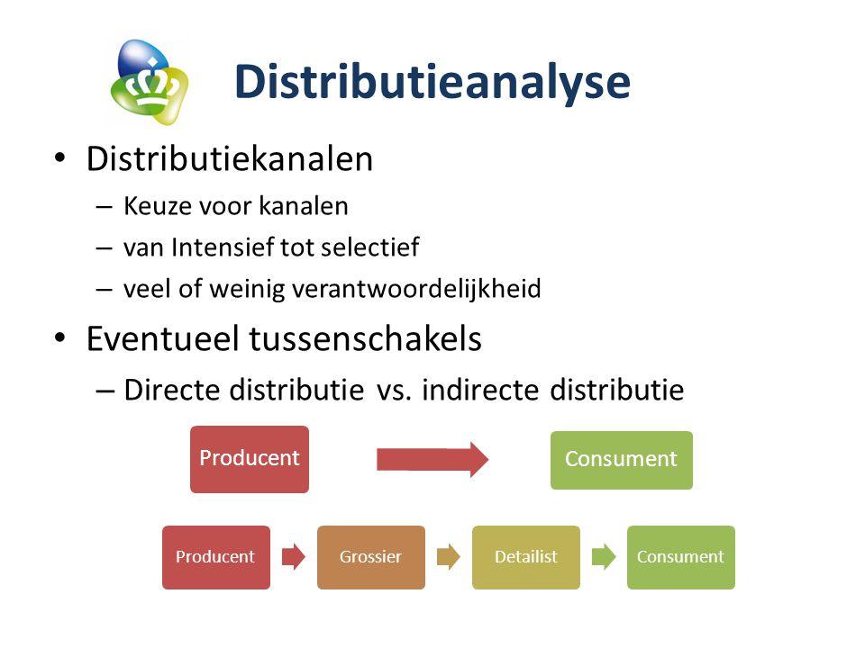 Distributieanalyse Distributiekanalen – Keuze voor kanalen – van Intensief tot selectief – veel of weinig verantwoordelijkheid Eventueel tussenschakels – Directe distributie vs.