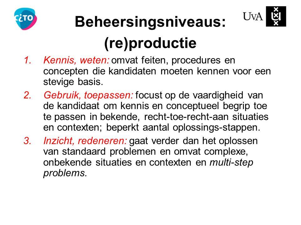 Beheersingsniveaus: (re)productie 1.Kennis, weten: omvat feiten, procedures en concepten die kandidaten moeten kennen voor een stevige basis. 2.Gebrui