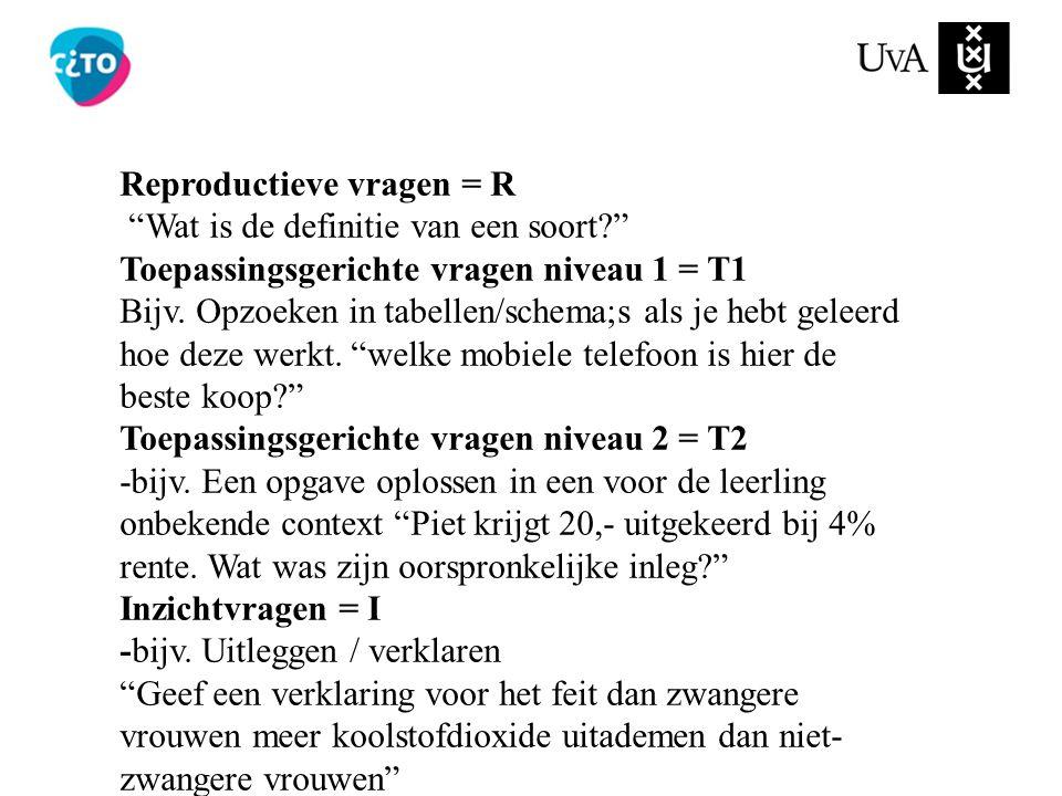Reproductieve vragen = R Wat is de definitie van een soort? Toepassingsgerichte vragen niveau 1 = T1 Bijv.