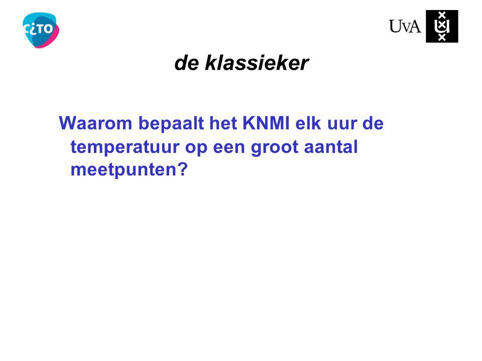 Waarom bepaalt het KNMI elk uur de temperatuur op een groot aantal meetpunten? de klassieker