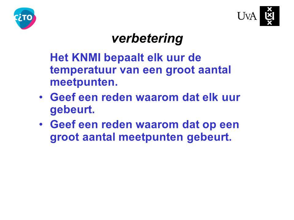 Het KNMI bepaalt elk uur de temperatuur van een groot aantal meetpunten. Geef een reden waarom dat elk uur gebeurt. Geef een reden waarom dat op een g