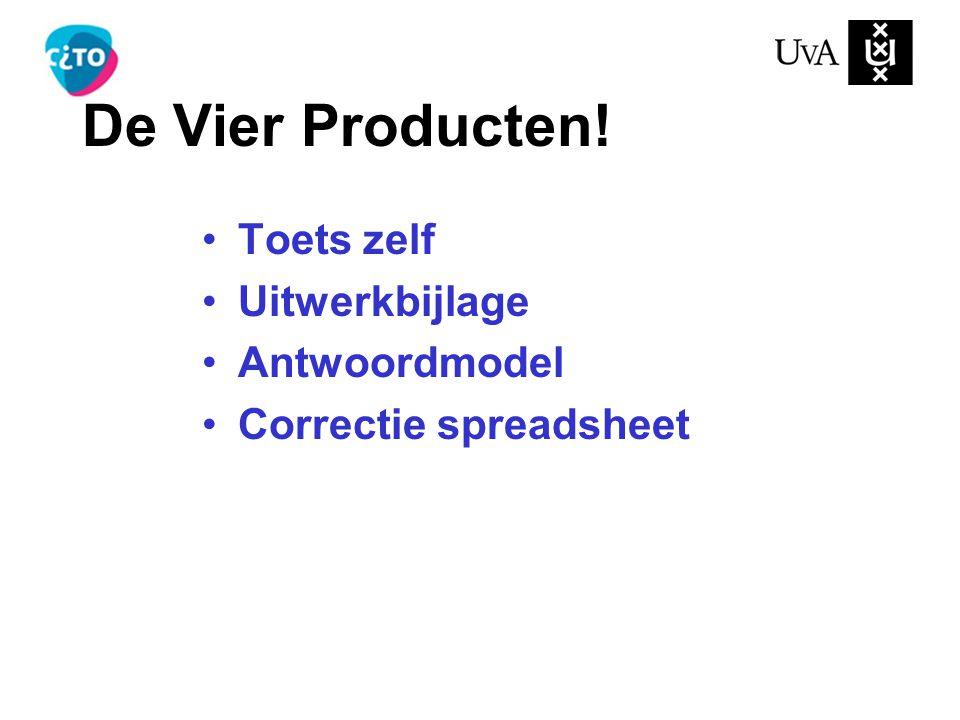 De Vier Producten! Toets zelf Uitwerkbijlage Antwoordmodel Correctie spreadsheet