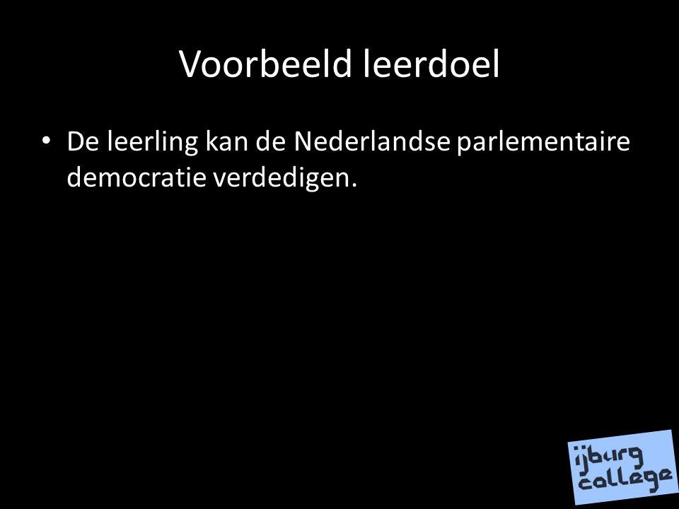 Voorbeeld leerdoel De leerling kan de Nederlandse parlementaire democratie verdedigen.