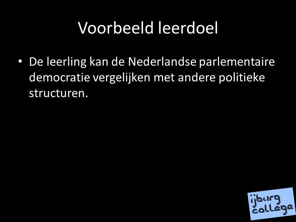 Voorbeeld leerdoel De leerling kan de Nederlandse parlementaire democratie vergelijken met andere politieke structuren.