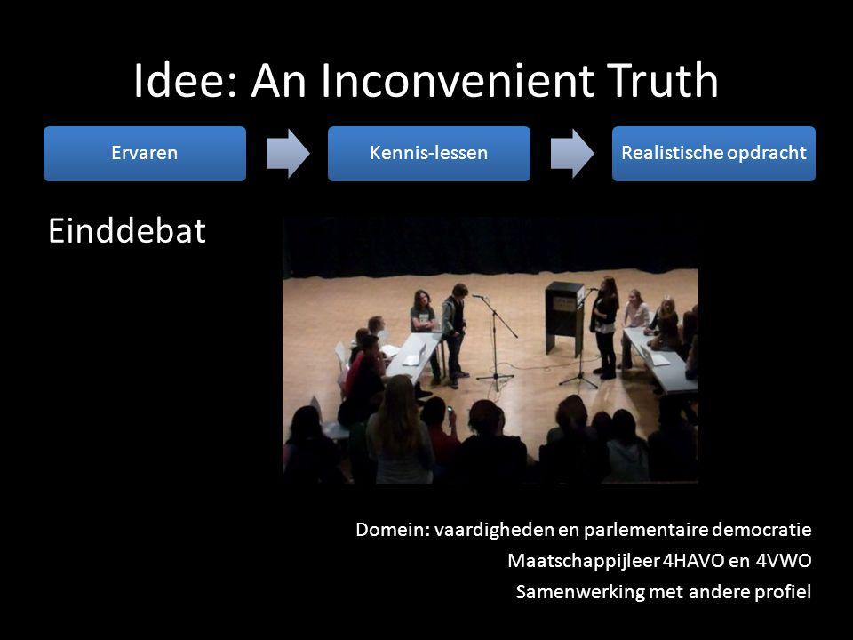 Idee: An Inconvenient Truth ErvarenKennis-lessenRealistische opdracht Einddebat Domein: vaardigheden en parlementaire democratie Maatschappijleer 4HAV
