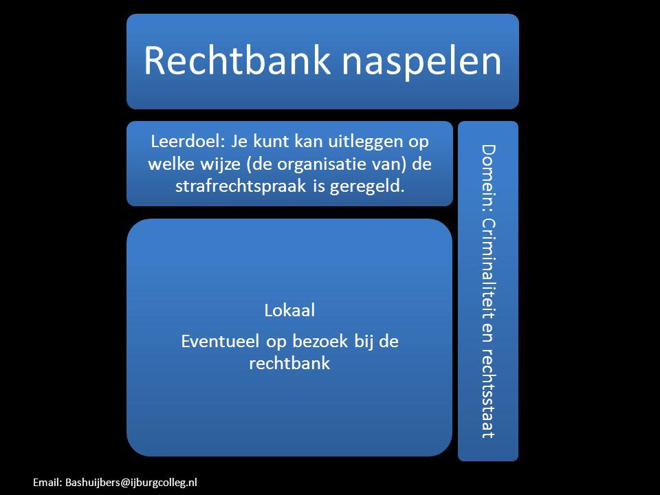 Rechtbank naspelen Leerdoel: Je kunt kan uitleggen op welke wijze (de organisatie van) de strafrechtspraak is geregeld. Lokaal Eventueel op bezoek bij