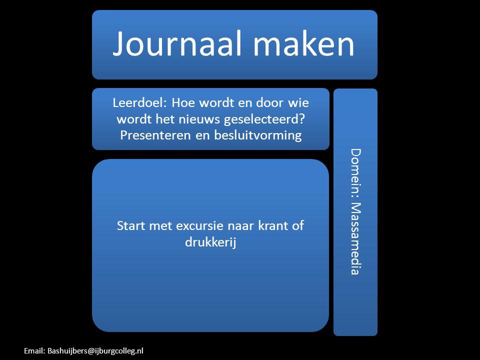 Journaal maken Leerdoel: Hoe wordt en door wie wordt het nieuws geselecteerd? Presenteren en besluitvorming Start met excursie naar krant of drukkerij