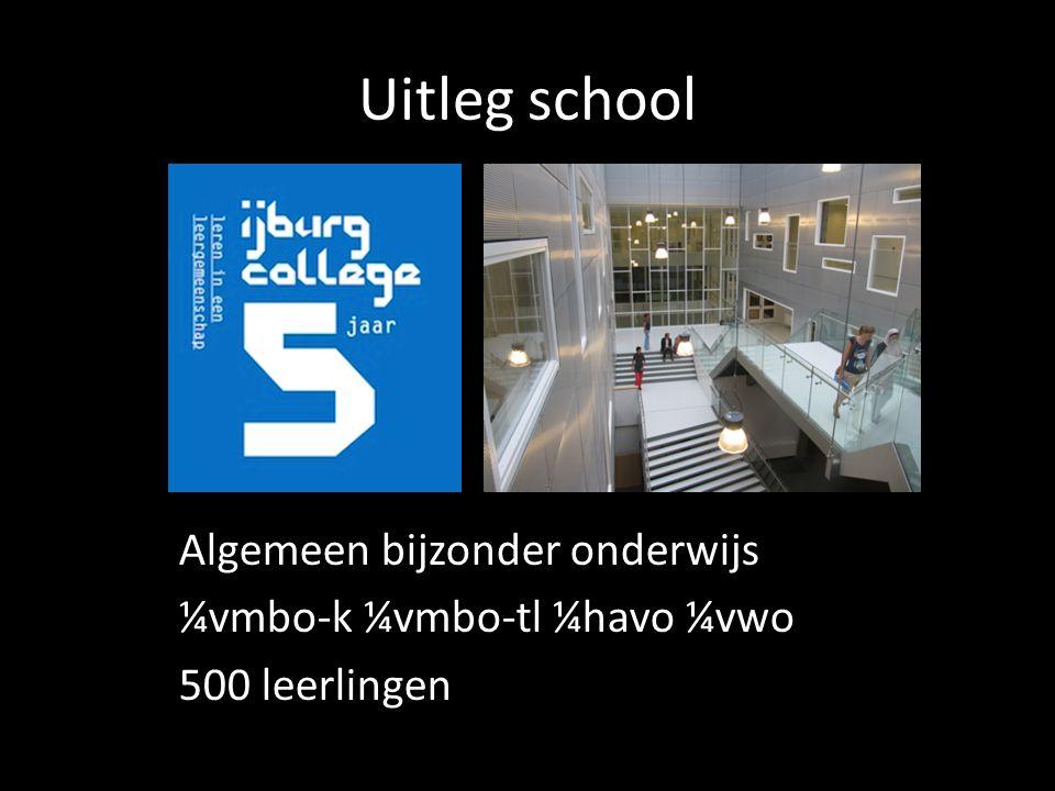 Uitleg school Algemeen bijzonder onderwijs ¼vmbo-k ¼vmbo-tl ¼havo ¼vwo 500 leerlingen