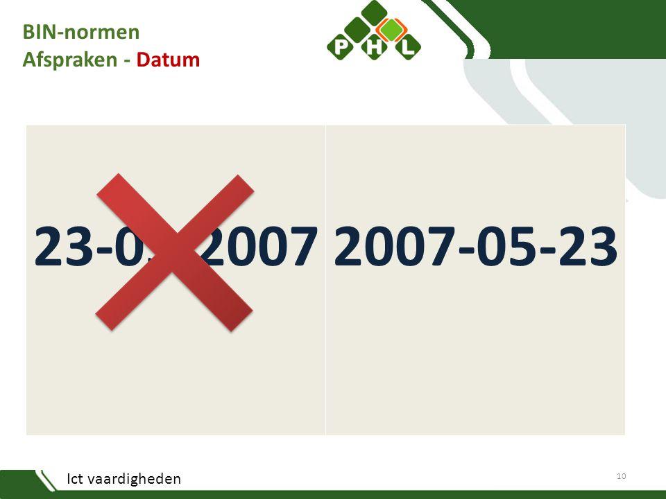 Ict vaardigheden BIN-normen Afspraken - Datum 23-05-20072007-05-23 10