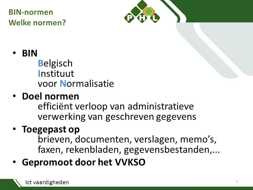 BIN-normen Welke normen? BIN Belgisch Instituut voor Normalisatie Doel normen efficiënt verloop van administratieve verwerking van geschreven gegevens