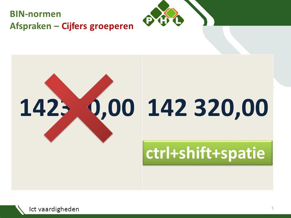 Ict vaardigheden BIN-normen Afspraken – Cijfers groeperen 142320,00 5 ctrl+shift+spatie