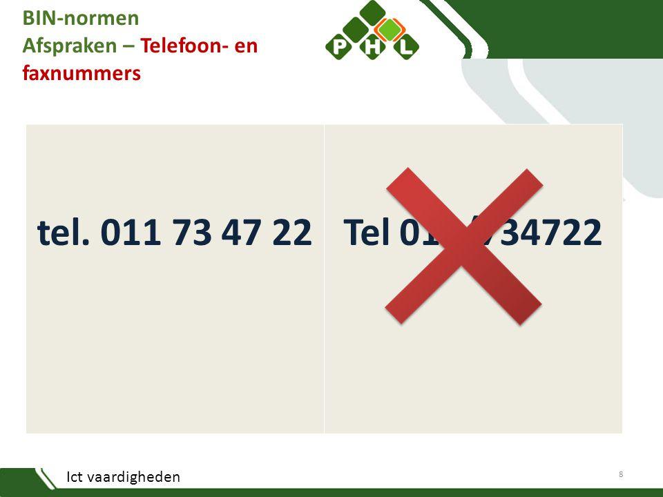 Ict vaardigheden BIN-normen Afspraken – Telefoon- en faxnummers tel. 011 73 47 22Tel 011/734722 8