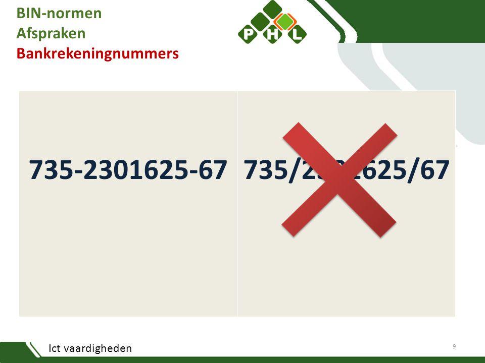 Ict vaardigheden BIN-normen Afspraken Bankrekeningnummers 735-2301625-67735/2301625/67 9
