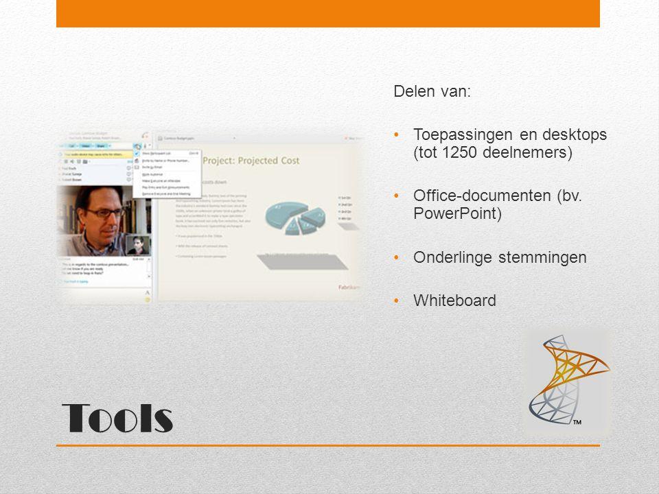 Tools Delen van: Toepassingen en desktops (tot 1250 deelnemers) Office-documenten (bv. PowerPoint) Onderlinge stemmingen Whiteboard