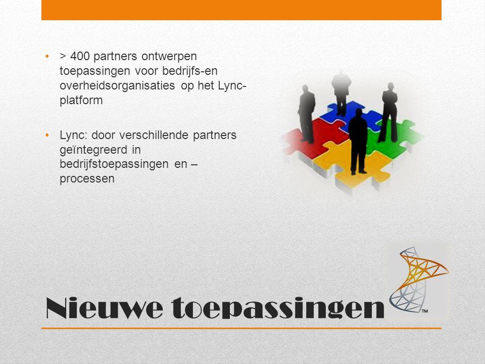 Nieuwe toepassingen > 400 partners ontwerpen toepassingen voor bedrijfs-en overheidsorganisaties op het Lync- platform Lync: door verschillende partne
