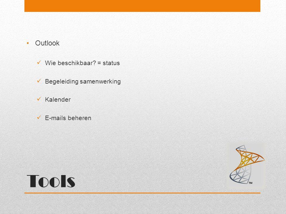 Tools Outlook Wie beschikbaar? = status Begeleiding samenwerking Kalender E-mails beheren