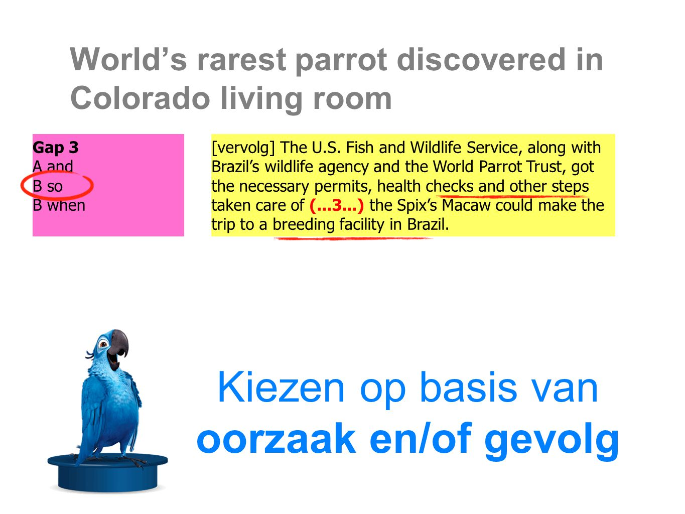 World's rarest parrot discovered in Colorado living room Of the tens of millions of parrots in cages around the world, we hear rumors about rare birds like this occasionally, but they (...4...) lead to discoveries as critically important as this Spix s Macaw, said James Gilardi, Ph.D., director of the World Parrot Trust.