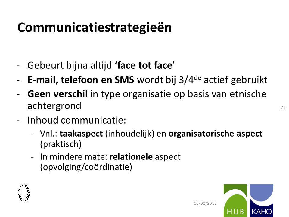 Communicatiestrategieën -Gebeurt bijna altijd 'face tot face' -E-mail, telefoon en SMS wordt bij 3/4 de actief gebruikt -Geen verschil in type organisatie op basis van etnische achtergrond -Inhoud communicatie: -Vnl.: taakaspect (inhoudelijk) en organisatorische aspect (praktisch) -In mindere mate: relationele aspect (opvolging/coördinatie) 06/02/2013 21
