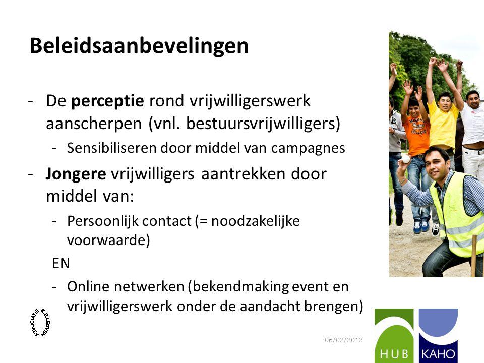 Beleidsaanbevelingen -De perceptie rond vrijwilligerswerk aanscherpen (vnl. bestuursvrijwilligers) -Sensibiliseren door middel van campagnes -Jongere